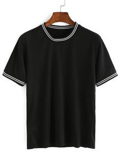 Shop Black Striped Trim T-shirt online. SheIn offers Black Striped Trim T-shirt & more to fit your fashionable needs.