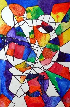 Lovely project using shapes and color - these were 4th grade. Shapes, lines, color - analogous, warm & cool, balance. Scroll down on the blog to find info on completing the project with students. (From May 11, 2011 entry.)