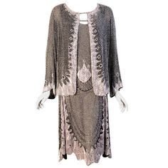 The Best 1920's Beaded Cotton Flapper Dress & Jacket | From a collection of rare vintage evening dresses at http://www.1stdibs.com/fashion/clothing/evening-dresses/