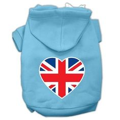 British Flag Heart Screen Print Pet Hoodies Baby Blue Size Lg (14)