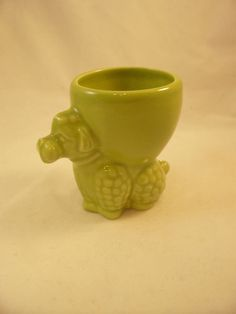 Vintage English Egg Cup - Green Poodle Dog