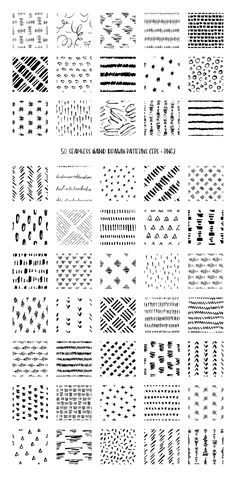 50 Hand Drawn Ink Patterns by DESIGN BY nube on @creativemarket