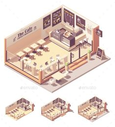 Buy Vector Isometric Coffee Shop or Coffeehouse by on GraphicRiver. Vector isometric coffee shop or coffeehouse. Cafe interior with tables, seats, counter, cash register and blackboard . Korean Coffee Shop, Japanese Coffee Shop, Small Coffee Shop, Coffee Store, Coffee Coffee, Coffee Drinks, Coffee Tables, Cafe Shop Design, Coffee Shop Interior Design