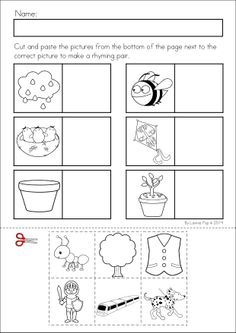 Kindergarten SPRING Math & Literacy unit. 93 pages in total. A page from the unit: Rhyming cut and paste.