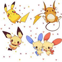 Pikachu, Raichu, Pichu, Plusle, Minun