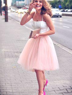 Pink Knee Length Tutu Skirt, short homecoming dress, pink short homecoming dress