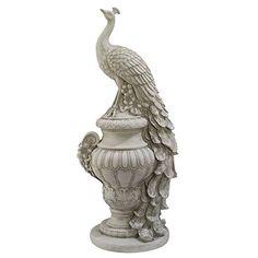 Design Toscano Staverden Castle Peacock on an Urn Garden Statue, Antique Stone