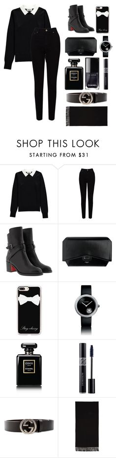 """""""All- Black Winter Wear"""" by al3x-m ❤ liked on Polyvore featuring Essentiel, EAST, Christian Louboutin, Givenchy, Casetify, Chanel, Christian Dior, Gucci and Acne Studios"""