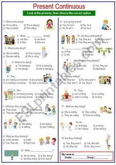 Questions Present Continuous worksheet Present Continuous Worksheet, Present Continuous Tense, English Writing Skills, Teaching English, English Grammar Tenses, English Language, Easy Grammar, English Time, English Exercises