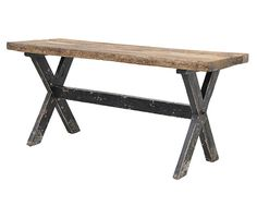 This wooden gathering table can be used as a dining table, worktable or console table. It has dark distressed black legs and a thick natural wood top