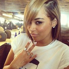 Lauren London! Love her hair color and style... I would <3 highlights of her hair color!