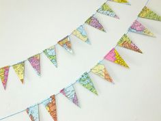 Mini Map Bunting, Small Map Garland, up-cycled from vintage world maps, mini map banner £7