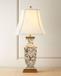 """Chinoiserie Porcelain Lamp at Horchow, handcrafted, hand-painted porcelain base on wood foot, beige silk shantung shade with white linen lining, porcelain finial, 16""""W X 12""""D X 32""""T"""