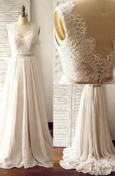 Elegant V-neck Sweep Train Sleeveless Open Back Light Champagne Wedding Dress with Lace Sash