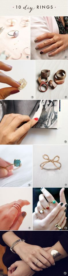 Ideas for DIY Fashion Crafts 10 DIY rings! Oh the lovely things: 60 DIY Accessories- Last Minute Gifts For DIY rings! Oh the lovely things: 60 DIY Accessories- Last Minute Gifts For Fashionistas Wire Jewelry, Jewelry Crafts, Jewelery, Handmade Jewelry, Jewelry Holder, Hand Jewelry, Gemstone Jewelry, Silver Jewelry, Diy Accessoires