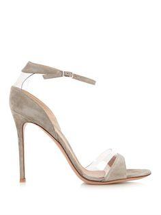 Plexi open-toe suede and PVC sandals | Gianvito Rossi | DH2,410.00 / €601 MATCHE...