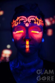 Glow in the dark / UV face paint  For more makeup looks and tutorials: www.instagram.com/Mykie_      www.youtube.com/GlamAndGoreMakeup  Photo by Danny Garcia