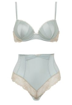 baby blue high waisted vintage bra and panty set