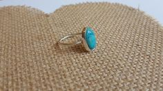 Sterling Silver & Turquoise Oval Cabochon Ring by RacheyMayDesign