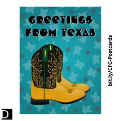 """This colorful postcard features decorated black and gold cowboy roper boots with green trim in front of a Texas state and cowboy spurs graphic over a textured gradient turquoise background. The text, which says """"Greetings from Texas"""", is customizable. https://www.zazzle.com/texas_cowboy_roper_boots_postcard-239905158323343858?rf=238083504576446517&tc=20170612_pint_SaC #StudioDalio colorful stationery paper products Zazzle"""