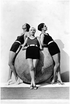 Swimsuits by Jean d'Ahetze (left and center) and Jane Régny (right), Photo by. George Hoyningen-Huene, April 1930
