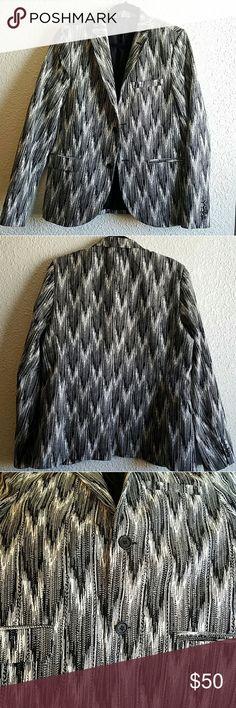 Men's Topman  Black & White Blazer Size 42 Novelty Blazer by Topman. Size 42. It's black and white pattern.  Poly Cotton blend. Very stylish. Topman Suits & Blazers Sport Coats & Blazers