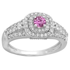 10k Gold 1/4ct TW Round-cut Pink Sapphire and Diamond Accent Bridal Halo Ring (H-I, I1-I2 ) (Size 9, Yellow Gold), Women's