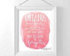 Ohana significa famiglia e famiglia significa nessuno ottiene sinistra dietro o dimenticati, lilo e stitch film ispirato, stampa d'arte, tipografia