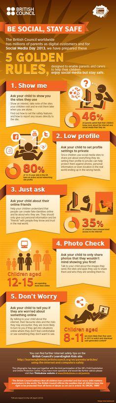 5 Golden Rules to Keep Children Safe on Social Media #Infographic #StaySafe