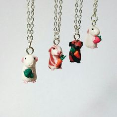 Guinea Pig Miniatures Now Available For Adoption! Either necklace or earrings. Or both :-)
