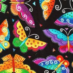 Flying Colors II quilt fabric, Laurel Burch, Clothworks, butterflies on black:Price: $11.75