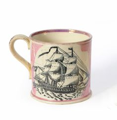 A Sunderland Lustre Pottery Mug, High Level Bridge Newcastle Upon Tyne, circa 1850, cylindrical, printed on one side with a view of the bridge, titled, within splodged pink borders, on the other with a three-masted man o'war http://www.tennants.co.uk/Catalogue/Lots/62134.aspx#sthash.Xfmq8T7E.dpuf