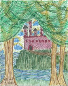abstract-art-print-castle-through-trees