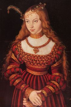 Lucas Cranach. Portrait of Princess Sybille of Cleves, Wife of Johann Friedrich the Magnanimous of Saxony, 1520.