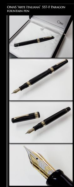 "OMAS ""Arte Italiana"" 557-F Paragon Fountain Pen (gold-plated trim, body in black cotton resin, 18kt gold dual-tone nib) - 1990s / Italy"