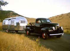 Studebaker truck and Airstream trailer.