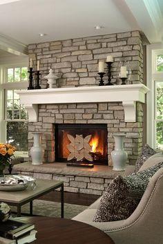 fireplace hearth ideas stone fireplace white wood mantel desorative fire screen