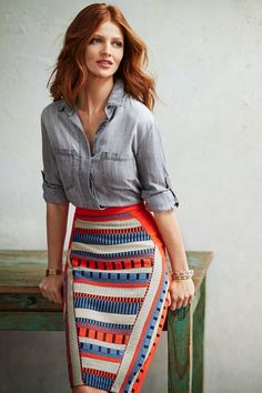 denim shirt tribal skirt redhead ginger pencil skirt