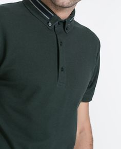 Image 3 of POLO SHIRT WITH STRIPED COLLAR from Zara