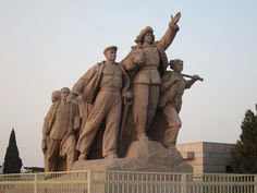 China. Revolutionary Statue, Mao's Mausoleum, Beijing Chairman Mao (Mao Zedong) Memorial Hall, Tiananmen Square. The clay statue honors the anonymous heroes of China's proletarian revolution.