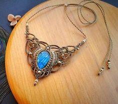 Blue flash Labradorite macrame necklace Available on my Etsy shop #macramependant #macramenecklace #macramejewelry #Labradorite…
