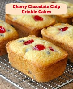 These cherry chocolate chip crinkle cakes are reminiscent of my childhood when they were available as plain, gumdrop or raisin at local bakeries & markets.