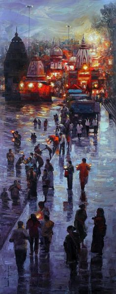 Best Deal on Landscape Paintings available at Indian Art Ideas Famous Indian Artists, Famous Art, Abstract Canvas Art, Acrylic Canvas, Painting Canvas, Buddha Painting, Rishikesh, Acrylic Painting Inspiration, Art Hub