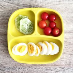 Homegrown cherry tomatoes, apple cucumber and cage free hard boiled eggs from @minimemagazinenz #toddlermeals #recipes #replayrecycled