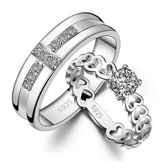 Bishilin Stainless Steel Love Key Lock Cubic Zirconia Couple Rings Wedding Bands Size 7