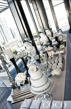 Black and white wedding theme. Chanel inspired wedding dessert buffet. Cake: Love and Lace Cupcakes, cookies, cakepops: One Sweet Girl