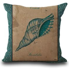 Factory Supply Mediterranean Style Hippocampus Starfish Conch Linen Cotton Throw Pillow Cushion For Chair Seat Hotel Decor #Affiliate