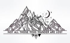 boho: Vector abstract geometric mountain with typographic text. Not all those who wander are lost. Poster with tribal graphic design elements. Boho style. American indian motifs. Illustration