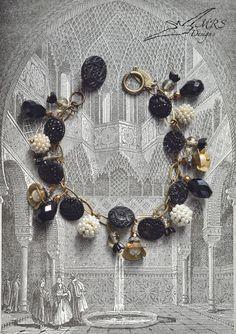 Vintage Lacy Black Glass Button Bracelet $195.00