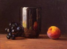 """Daily Paintworks - """"Still Life with Peach and Black Grapes No. 2"""" - Original Fine Art for Sale - © Abbey Ryan"""